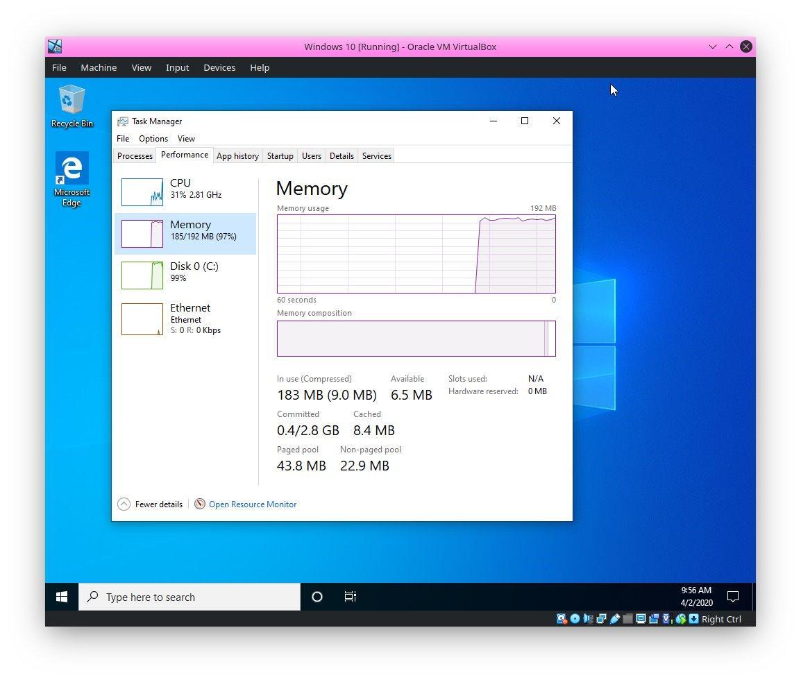 Windows 10 запустили наПКсо192 Мбоперативной памяти