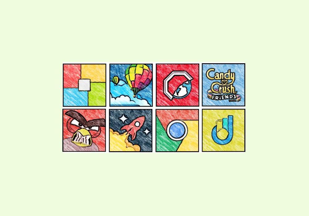 Занятный набор иконок для Android вмультяшно-рисованном стиле. Пока бесплатно