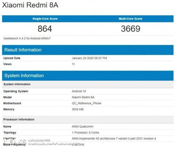 Xiaomi Redmi 8A, кажется, получит Android 10