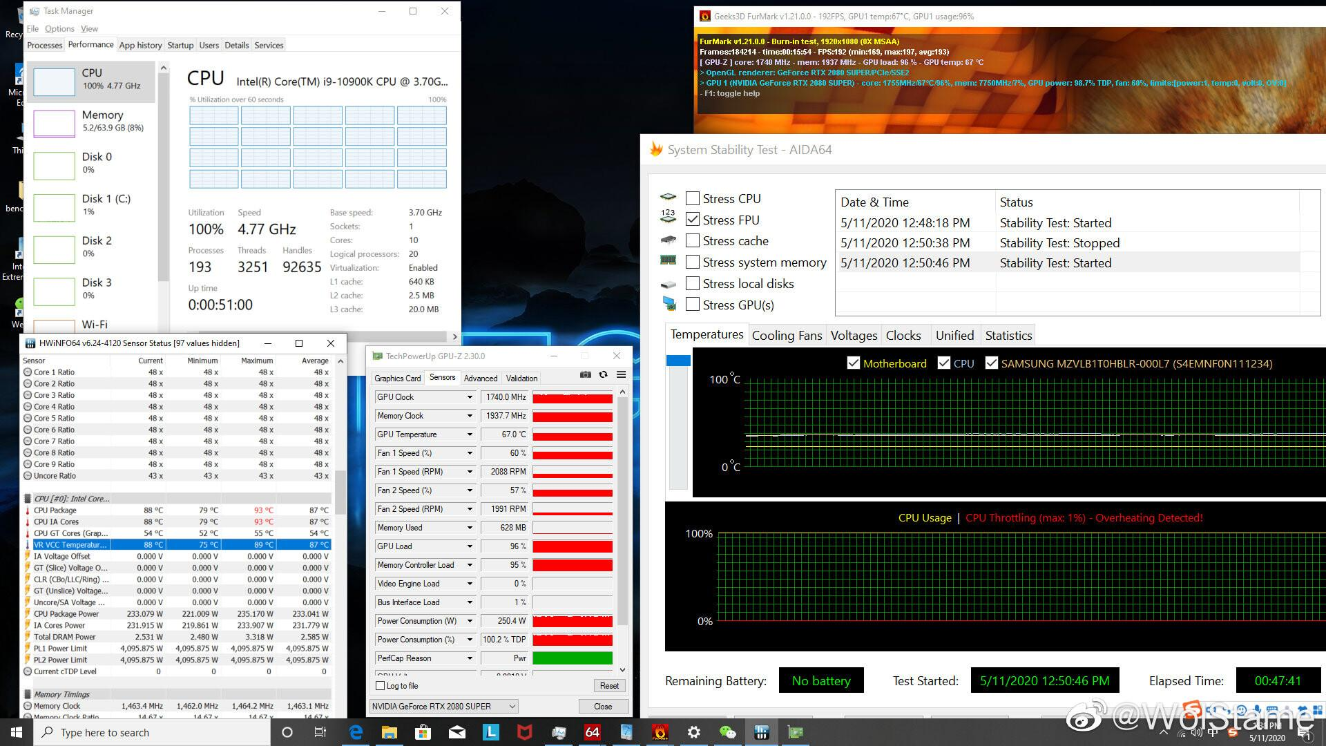 Intel i9-10900K под дичайшей нагрузкой держит частоту 4,77 ГГц, ногреется до93 градусов
