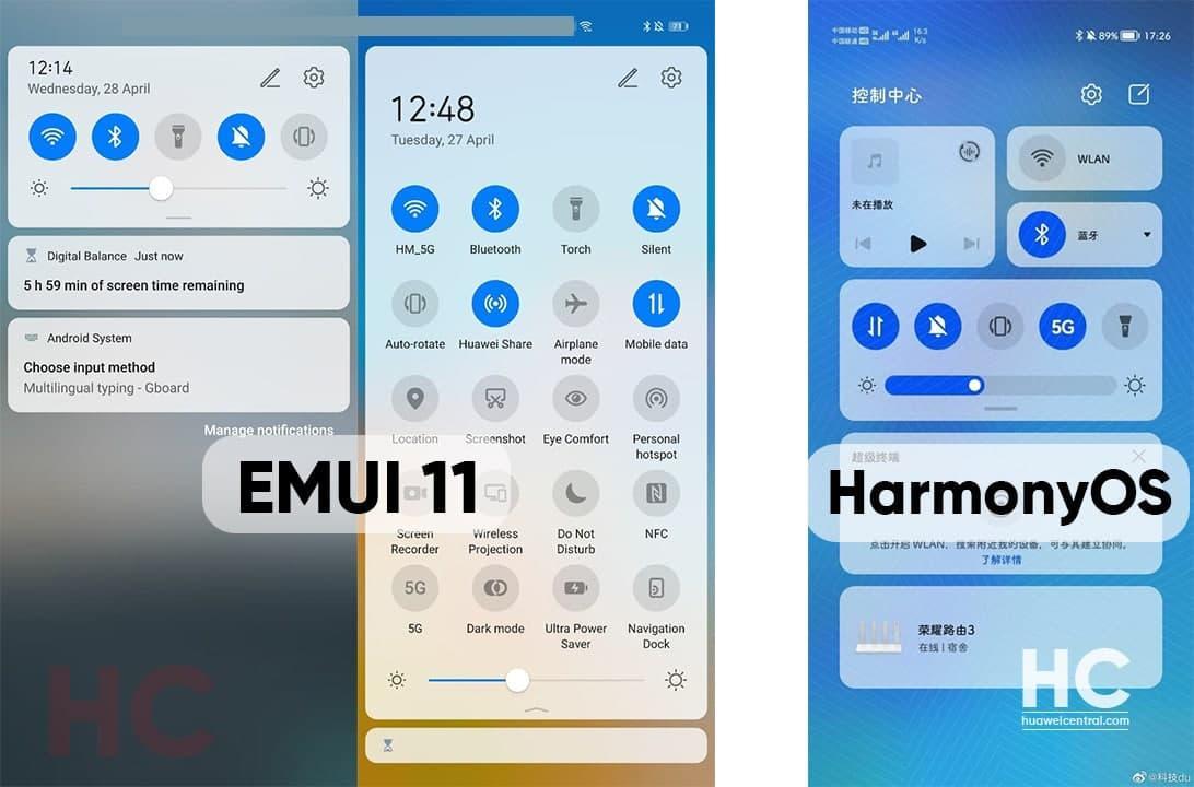 Так выглядит меню быстрых настроек Harmony OS