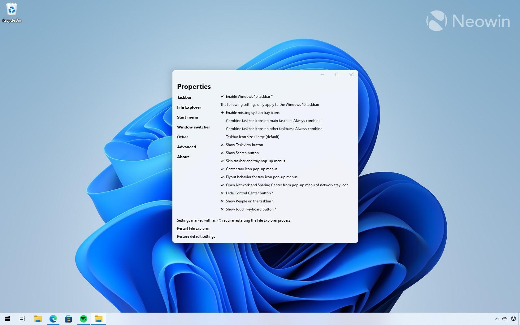 Explorer Patcher для Windows 11 даёт настройку таскбара, как вWindows 10