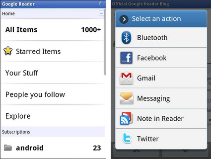 It brings the basic features of Google Reader such as unread counts