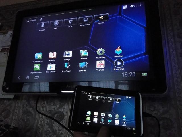 Дублирование рабочего стола между HTC Flyer и ТВ Филипс