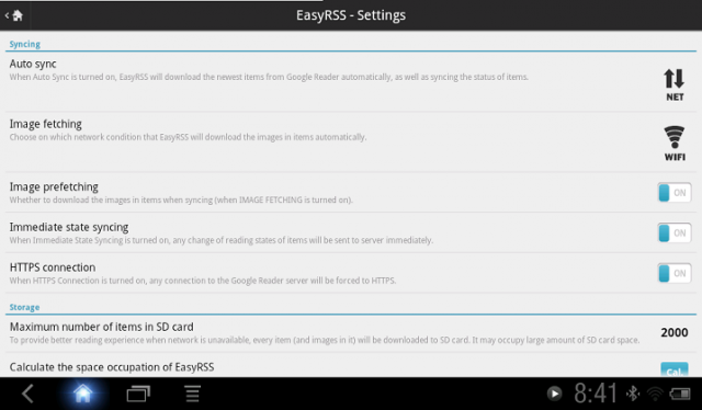 EasyRSS Settings