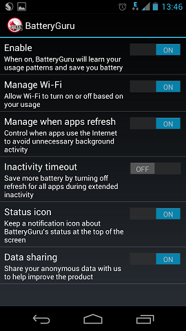BatteryGuru settings
