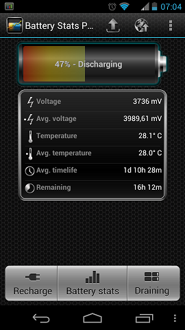 Battery Stats Plus главный экран